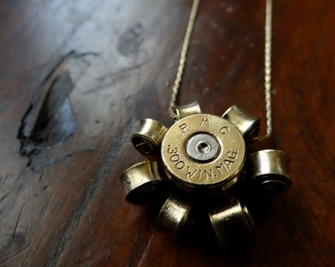 300 Win Mag Brass Daisy Bullet Necklace by LibertyBelleJewelry, $25.00