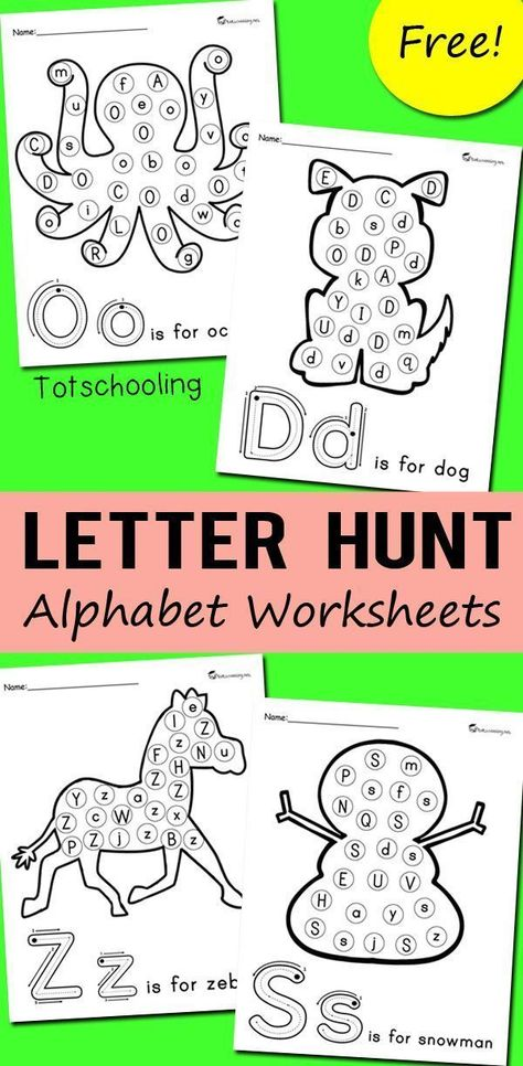 Alphabet Letter Hunt Worksheets FREE alphabet printables for preschoolers to practice letter recognition. No-prep worksheets to find and dot each letter of the alphabet. Great to use with do-a-dot markers. Teaching Letters, Preschool Letters, Free Preschool, Preschool Learning, Preschool Activities, Teaching Letter Recognition, Number Recognition, Learning Games For Preschoolers, Fun Learning