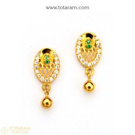 40d6e091b 22K Gold Earrings for Women with Cz - 235-GER8810 - Buy this Latest Indian  Gold Jewelry Design in 3.000 Grams for a low price of $192.00