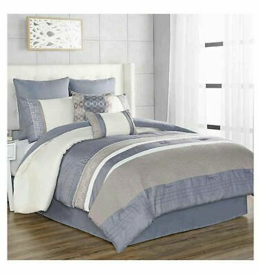 Slater 8 Piece King Comforter Set In Blue Ebay King Comforter Sets Comforter Sets Full Comforter Sets