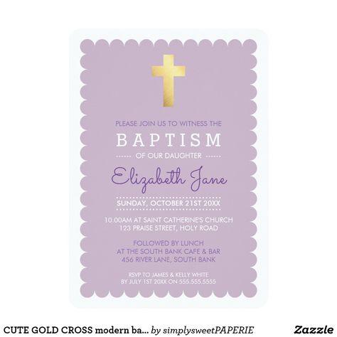 CUTE GOLD CROSS modern baptism scalloped purple #zazzle #shopping #zazzlemade #zazzleproducts #baptisminvites #christeninginvites #baptisminvitation #cuteinvites #moderninvites #celebrategod #printedinvitation #invites #invitations