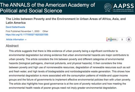 The Links between Poverty and the Environment in Urban Areas of Africa, Asia, and Latin America - David Satterthwaite, 2003