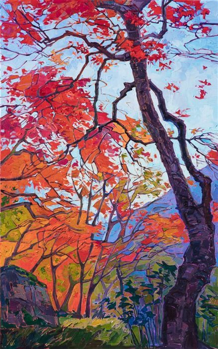 Kyoto Scenery Oil Painting Of Vivid Autumn Colors Painted By Contemporary Impressionist Artist Erin Hanson Tree Painting Landscape Art Landscape Artist
