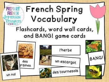French spring flashcards/word wall/bang game - le printemps