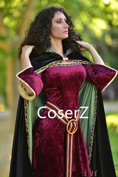 Tangled Mother Gothel Costume,Mother Gothel Cosplay Dress with Cape – Coserz