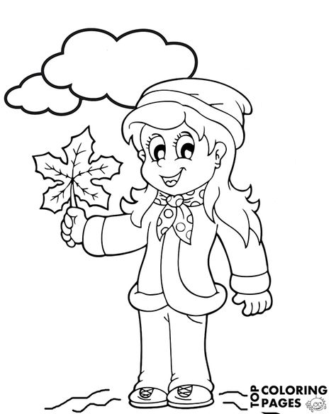 Printable Autumn coloring pages for children, fall, rain (With ...