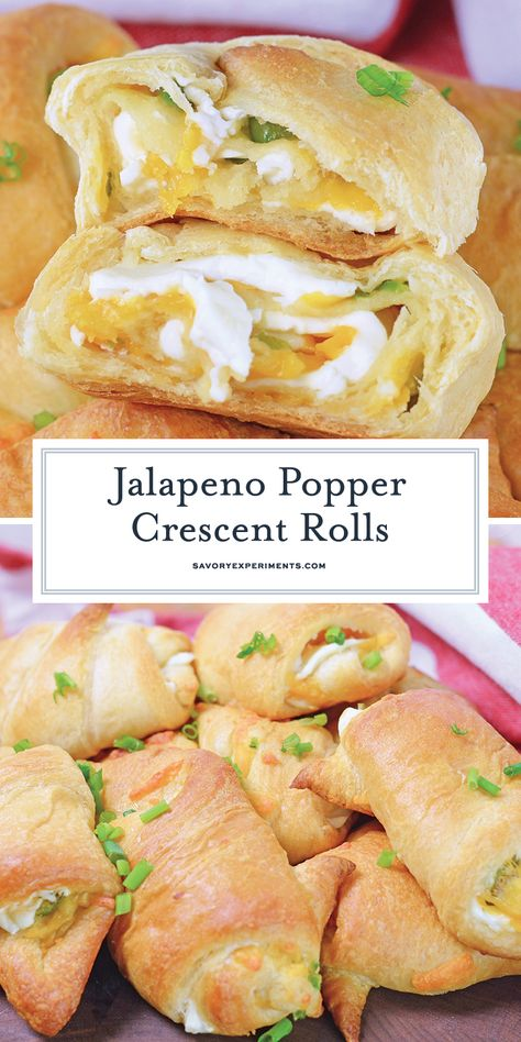 Jalapeno Popper Crescent Rolls – The Best Crescent Rolls This Jalapeno Popper Crescent Rolls recipe is filled with cream cheese, jalapenos, and cheddar cheese wrapped in a flaky croissant dough. Jalapeno Poppers Crescent Rolls, Crescent Roll Appetizers, Cream Cheese Crescent Rolls, Stuffed Crescent Rolls, Cream Cheese Stuffed Jalapenos, Stuffed Peppers, Cream Cheese Jalapeno Poppers, Croissants, Appetizer Recipes