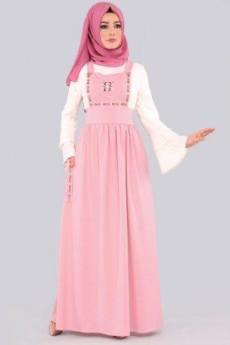 Pembe Tesettur Bahcivan Elbise Modelleri Elbise Modelleri The Dress Musluman Elbisesi