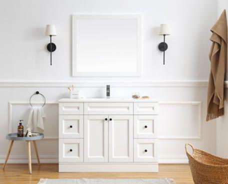 Momento White Hamptons Square Edge Stone Top Vanity 1200mm Country Style Bathrooms Bathroom Vanity Cabinets Bathroom Styling