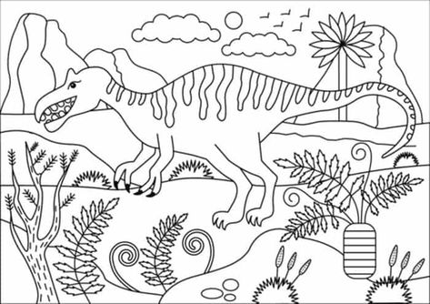 Baryonyx Dinosaur Coloring Pages For Kids From Dinosaur Coloring