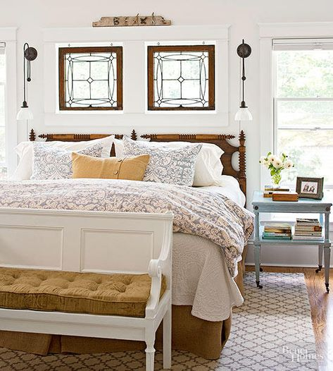 Rethink old house parts to expand your decorating palette. These 20 room designs showcase architectural salvage as fetching furnishings, arresting artworks, and as distinctive displays for vintage collections. Leaded Glass Windows, Glass Panels, Cozy Bedroom, Cottage Bedrooms, Bedroom Ideas, Cottage Bedroom Decor, Guest Bedrooms, White Bedroom, Master Bedrooms