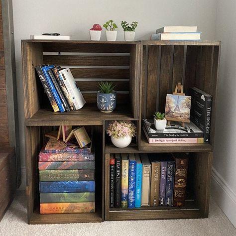 Milk Crate Shelves, Apple Crate Shelves, Milk Crate Storage, Wooden Crate Shelves, Crate Bookcase, Diy Wooden Crate, Wood Crates, Diy Dvd Storage, Box Shelves