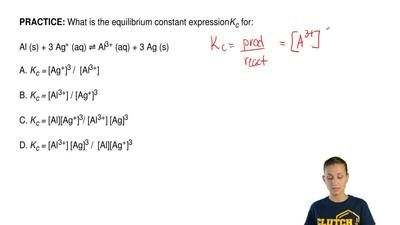 What Is The Equilibrium Constant Expression Kc For Al S 3 Ag Aq Al3 School Related Textbook College Students