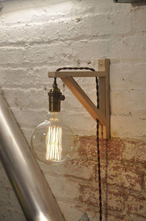Mur bougeoir laiton Antique bouleau bois lampe industrielle rétro Vintage solide