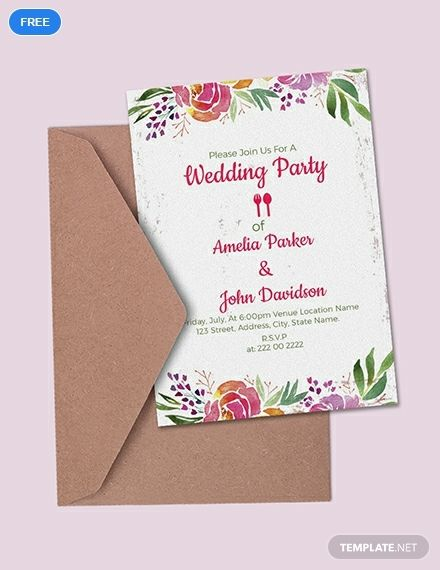 Free Wedding Party Invitation Template Word Doc Psd Indesign Apple Mac Pages Publisher Wedding Party Invites Free Wedding Invitation Templates Wedding Invitation Card Design