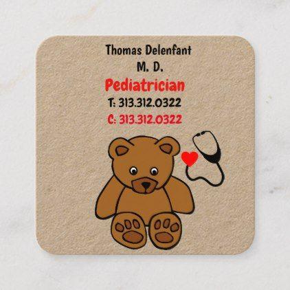 Pediatrician Teddy And Heart Stethoscope Square Business Card Zazzle Com Square Business Card Business Cards Creative Business Template