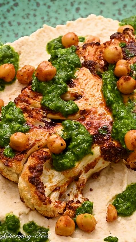 CAULIFLOWER STEAK WITH ROASTED CHICKPEAS AND CHIMICHURRI SAUCE | Charming-Food