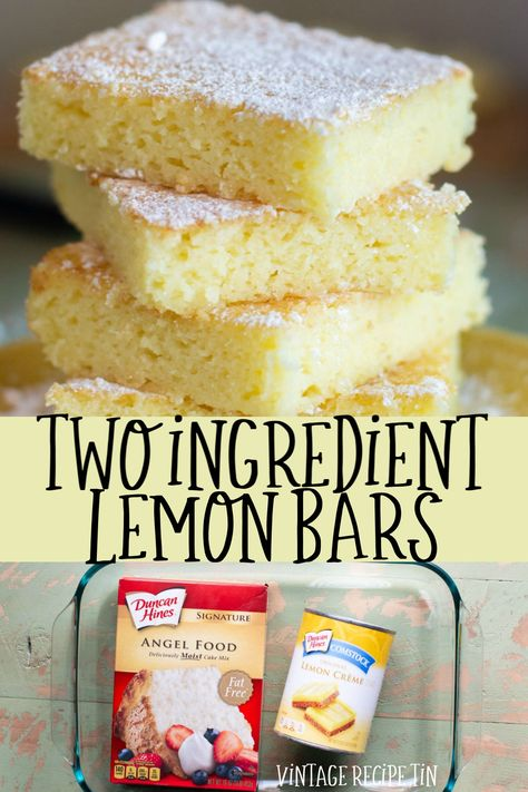 2 ingredient lemon bars are made from just one can of lemon pie filling and one box of angel food cake mix. Vintage Recipe Tin 2 ingredient lemon bars are made from just one can of lemon pie filling and one box of angel food cake mix. Homemade Desserts, Köstliche Desserts, Delicious Desserts, Yummy Food, Angel Food Cake Desserts, Healthy Lemon Desserts, Low Calorie Desserts, Homemade Fudge, Food Deserts