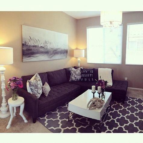 Making The Dark Sofa Work Without The Whole Living Room Feeling Too Dark Livingroomdes Purple Living Room Living Room Decor Apartment Living Room Decor Purple