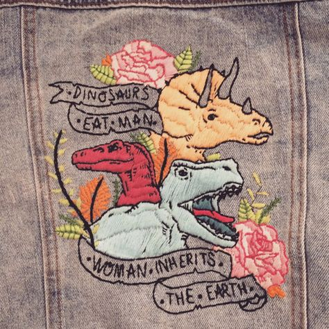 iron-wang: ITS DONE! …technically I still have to fill in the triceratops horns but CLOSE ENOUGH! 45 hours of sewing, Special thanks to tinysketchbook who drew the beautiful original illustration~ Diy Embroidery, Cross Stitch Embroidery, Embroidery Patterns, Cross Stitching, Diy Clothes, Needlepoint, Needlework, Illustration, Sewing Projects