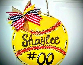 Softball ~ Door Hanger ~ Personalize ~ Decor ~ Custom ~ Housewarming Gift ~