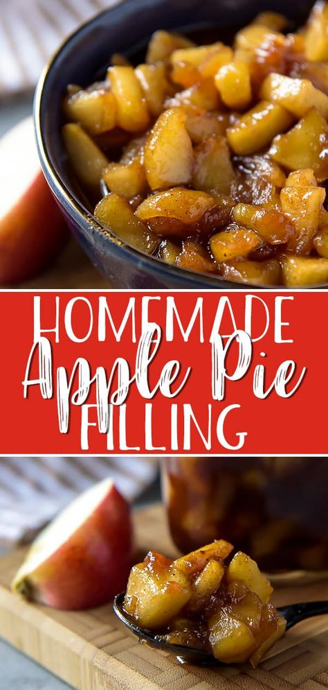 this easy-as-pie Homemade Apple Pie Filling, you'll never buy canned pie filling again! Your favorite apples, a handful of pantry items, and ten minutes are all that stand between you and all sorts of delicious apple dessert possibilities! Homemade Apple Pie Filling, Apple Pie Recipe Easy, Best Apple Pie, Easy Pie Recipes, Apple Pie Recipes, Cooking Recipes, Healthy Recipes, Easy Apple Pie Filling, Apple Pie Recipe With Brown Sugar