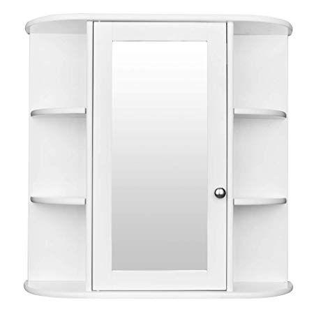 Amailtom Bathroom Cabinet Organizer, Bathroom Medicine Cabinet Storage  Organizer with Mirror …   Wall mounted cabinet, Mirror wall bathroom, Storage  cabinet shelves
