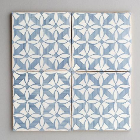 Estoril - handpainted, handmade patterned grey and white tiles. Portuguese tiles for bathrooms and kitchens from Everett and Blue