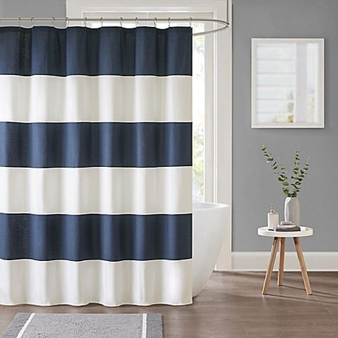 The Parker Stripe Shower Curtain Will Bring Crisp Casual Style To Your Bathroom With Classic Wide Horizontal Stripes In Timeless Navy Make A Statement