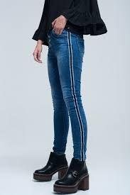 Resultado De Imagen Para Jean Con Rayas Laterales Skinny Jeans Striped Jeans Dark Jeans