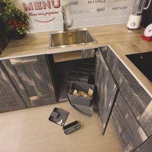 Cuisine Equipee Industrielle En U Label Cube Bois Use Et Trend