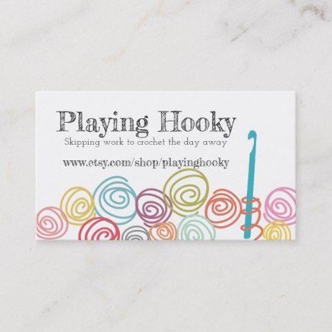 Doodle Scribble Yarn Crochet Hook Business Card Zazzle Com Crochet Business Sewing Cards Crochet Yarn