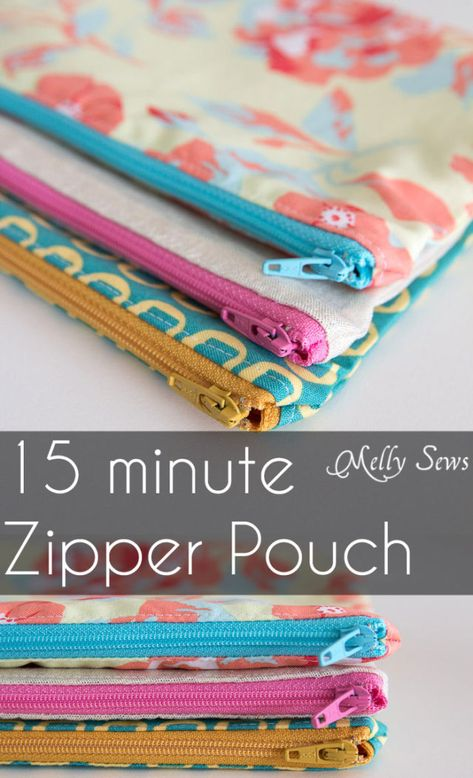 DIY Sewing Gift Ideas for Adults and Kids, Teens, Women, Men and Baby - Zipper Pouch Tutorial - Cute Diy Sewing Projects, Sewing Projects For Beginners, Sewing Hacks, Sewing Tutorials, Sewing Tips, Bag Tutorials, Tutorial Sewing, Sewing Crafts, Fabric Crafts
