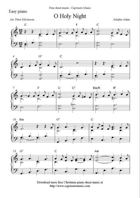 Free Easy Christmas Piano Sheet Music O Holy Night Christmas