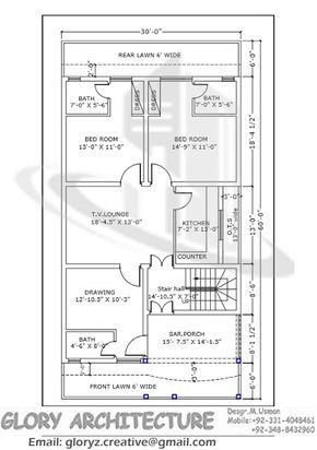 30x60 House Plan Elevation 3d View Drawings Pakistan House Plan Pakistan House Elevation 3d Elevatio In 2020 Simple House Plans Indian House Plans 30x50 House Plans