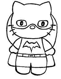 Hello Kitty As Batgirl Printable Coloring Page Bonecas Em Eva