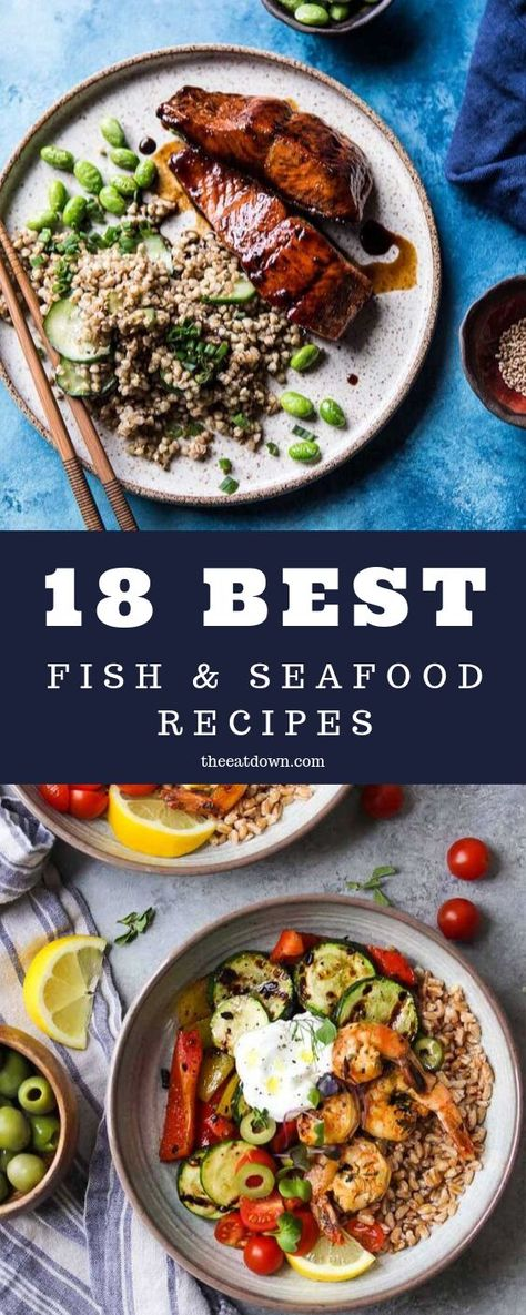 """Just because the nights are getting darker and colder doesn't mean that your meals do too. If you need something refreshing to brighten up the evenings then try one of these fish and seafood recipes.  Here are eighteen of the very best fish and seafood recipes to give you something zesty to look forward to in the evenings.""  #recipes #fish #seafood #salmon #haddock #scallops"
