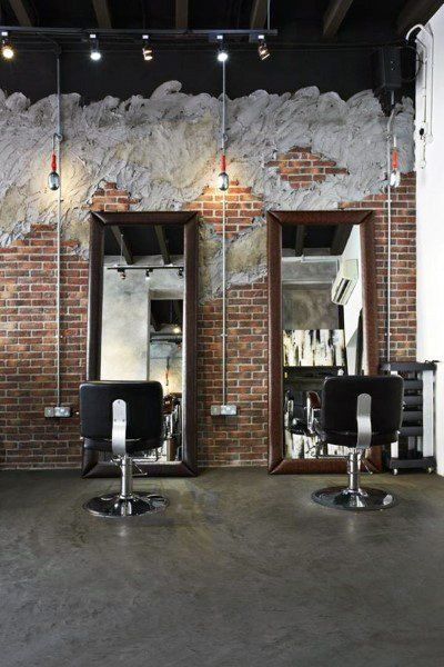 Rustic Brick Wall Barber Shop Design Inspiration In 2020 Barber Shop Decor Barber Shop Interior Salon Interior Design