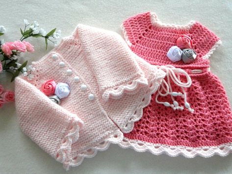 Crochet Baby Dress Crochet Baby Cardigan Baby Outfit Knitted | Etsy