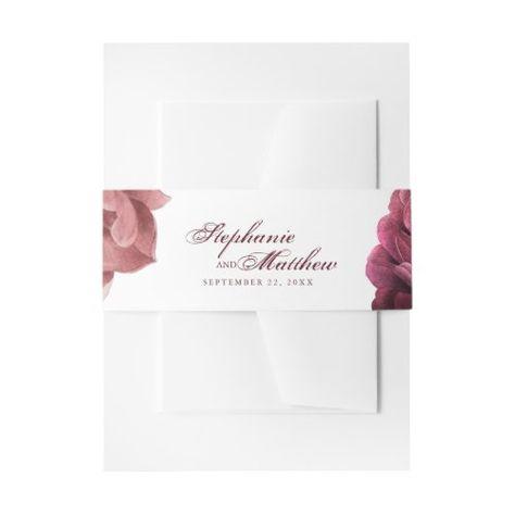 Burgundy Blush Floral Roses Botanical Wedding #elegantbellyband #floral #botanicalwedding #modern #burgundy #blushpink #bohemian #roses #calligraphy #romantic