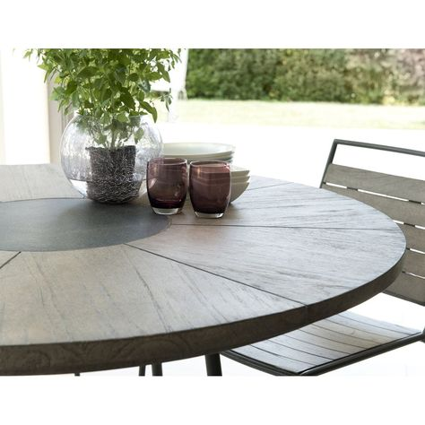 Table De Jardin Ronde En Teck Grise Acier Et Pierre 120cm Detroit