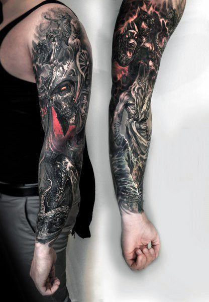 50 Gothic Tattoos Fur Manner Ideen Fur Dunkle Korperkunst Tatowierungen Tattoos Tattoos For Guys Sleeve Tattoos