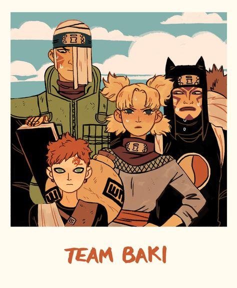 Team Baki/ Gaara, Temari e Kankuro Naruto Gaara, Anime Naruto, Manga Anime, Art Naruto, Naruto Cute, Naruto Shippuden Anime, Madara Uchiha, Shikamaru, Naruto Sketch
