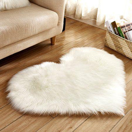 Heart Shaped Soft Faux Sheepskin Fur Plush Area Rugs For Home Living Room Balcony Sofa Floor Mat Bedroom 44x36inch White Walmart Com Fluffy Rug Bedroom Carpet Sheepskin Rug