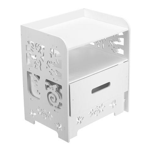 Bedroom Nightstand End Side Bedside Table Storage Cabinet Drawer White