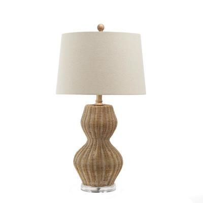 Silverwood Furniture Reimagined Kai 27 5 In Brown Bamboo Table Lamp With Shade Cplt1480 The Home Depot Table Lamp Lamp Bamboo Table