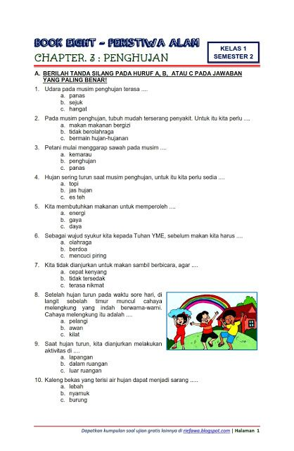 Soal Tematik Kelas 1 Tema 8 : tematik, kelas, Download, Tematik, Kelas, Semester, Subtema, Peristiwa, Penghujan, Edisi, Terbaru, Matematika, Satu,, Pelajaran