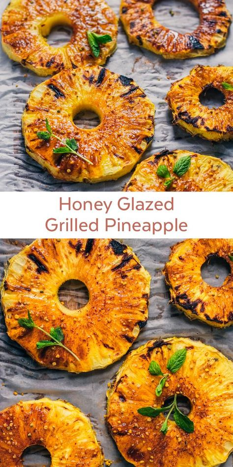This Honey Glazed Grilled Pineapple is the perfect healthy appetizer or side dish to your summer dinners, BBQs, or potlucks! Our Aroeria honey is the perfect match for this pineapple, and don't forget Nutritious Smoothies, Pineapple Recipes, Cooking Recipes, Healthy Recipes, Healthy Food, Healthy Fruits, Cooking Ideas, Fiber Rich Foods, Honey Glaze