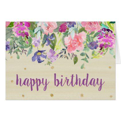 Watercolor Floral Drop Happy Birthday Card Purple Floral Style