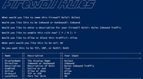 FirewallRules is a Simple PowerShell script to quickly add